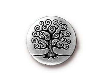 Tree of Life Button TierraCast Antique Silver 16mm x 4.5mm One Button