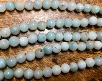 Amazonite Pastel Green Gemstone Smooth Rounds 2mm Large Hole Beads 8mm Approx 24 pcs per 8 inch strand
