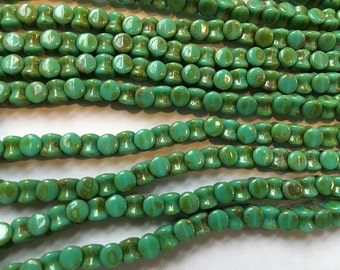Pellet Beads Turquoise Travertine Czech Pressed Glass Pellets 4x6mm 30 beads PLT46-63130-86805