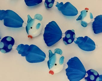 Clearance Handmade Lampwork Glass Beach Collection - Bright Blue White Fish with Matte Bright Blue Shells and Rondelles 9 Beads Plus Spacers