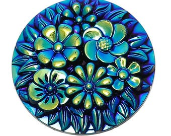Clearance Resin Dome Cabochon with Flower Embellishment Round Blue AB Color 29mm 2 pcs