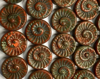4 Picasso Brown Opaque Hyacinth Red Orange Picasso Ammonite Flat Round Spiral Coin Czech Glass Beads 18mm 4 pcs