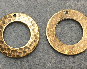 Hammered Rustic Rings Vintage Look Antique Brass Antique Bronze 22mm 2 pcs F442D