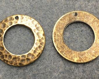 Hammered Rustic Rings Vintage Look Antique Brass Antique Bronze 22mm 2 pcs F383D