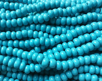 1/0 Opaque Blue Turquoise Large Hole Czech Glass Seed Beads Big Seeds