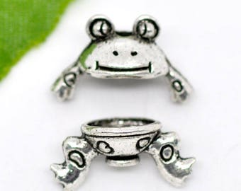 Frog Bead Caps Antique Silver Fits 8mm to 10mm Beads 21mm x 11mm 4 sets F487