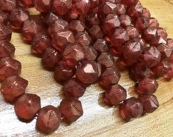Bittersweet Red Czech Pressed Glass Large English Cut 10mm with Golden Luster 15 Beads