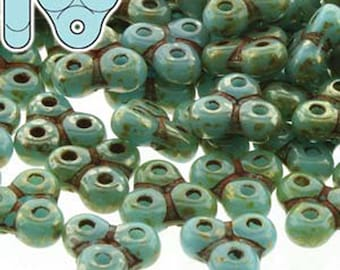 Trinity Beads Czech Glass 3 Hole Turquoise Blue Picasso 6x6mm 50 beads