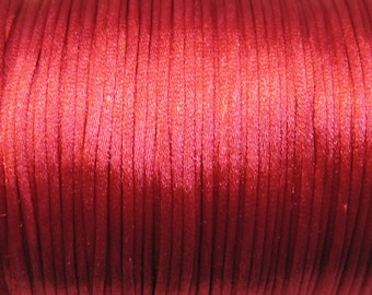 Red Satin Rattail Cord 1mm 6 yards for Macrame Kumihimo Knotting