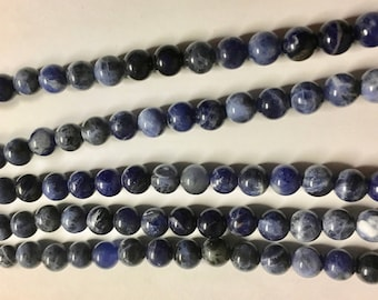 Sodalite 6mm Blue Gemstone Rounds 8 inch strand Approx 31 beads