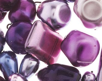 Purple Velvet Pearl Shine Czech Glass Bead Assorted Bead Mix Shades of Purple and Pink 50 grams
