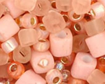 Peach Mix Toho Glass Seed Beads 2.5 inch tube 8 grams TX-01-3202
