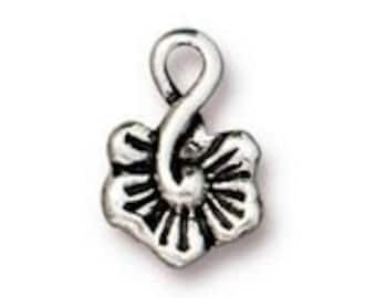 2 TierraCast Antique Silver Small Blossom Charms 12.1mm x 8.3mm 2 charms Made in the USA F563A