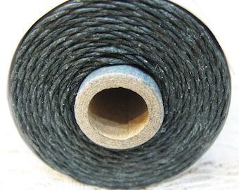 Dark Charcoal Gray Waxed Linen Cord 4 ply 10 yards for Macrame Kumihimo Knotting