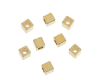 50 Brass Spacer Beads Cube Brass Color Approx. 3mm x 3mm with 1.8mm hole F547
