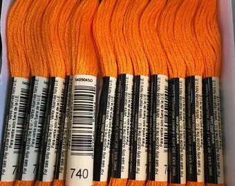 DMC 740 Tangerine Embroidery Floss 2 Skeins 6 Strand Thread for Embroidery Cross Stitch Needlepoint Sewing Beading
