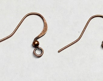 Antique Copper Plated Surgical Steel Hammered Long Earwire French Hook Earrings with Bead 15x25mm 22 ga 12 pairs Made in USA F199