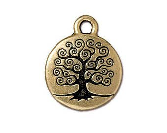 TierraCast Antique Gold Tree of Life Charms 19mm x 15.5mm One Charm