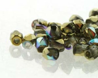 Crystal Gold Rainbow 2mm True Fire Polish Czech Glass Crystal Beads 100 beads