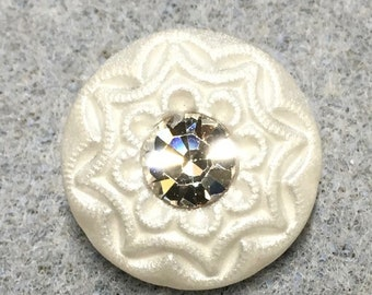 White Satin Rhinestone Czech Glass Button with Glass Shank 18mm