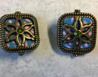 Blue Square Polymer Clay with Rhinestone Centers Antique Brass Detail Double Sided 20x19mm 2 beads