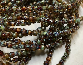 50 Amber and Tea Green with Picasso Finish Czech Glass Firepolished Crystal Beads 3mm Approx 50 beads