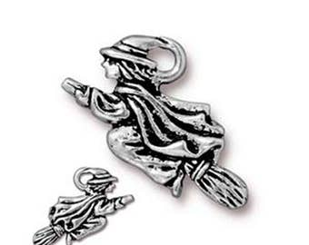 Witch in Flight Charm Antique Silver Spooky Pendant Charm TierraCast Lead Free Pewter 19mm x 23mm