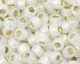 8/0 Silver Lined Milky White Toho Glass Seed Beads 2.5 inch tube 8 grams TR-08-2100