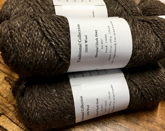 Cestari Natural Dark Gray Traditional Collection 100% Wool 2 ply Worsted Weight 170 yards Pull Skein Made in the USA
