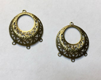 Dangle 3 Way Filigree Antique Brass Earring Dangle Earring Findings Three loop Vintage Style 2 pcs F371A