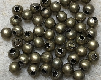 50 Antique Brass Smooth Round Beads 4mm Made in the USA F462