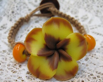 Clearance Macrame Bracelet Kit Waxed Cotton Golden Yellow Polymer Clay Flower All Materials Included