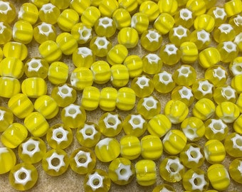 32/0 Yellow Preciosa Ornela Star Cornelian Rocaille Seed Beads 6x7mm 20 pcs