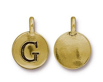 "Letter ""G"" Initial Pendant Tiny Gold Charm TierraCast Antique Gold Alphabet Charms TierraCast Lead Free Pewter 16.5x11.5mm One Charm"