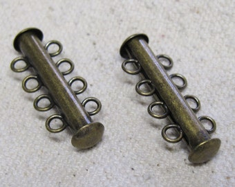 Slide Clasp 4 Strand Magnetic Antique Bronze Four Strand Antique Brass Slide Tube Clasps 26mm x 6mm 2 clasps F301A