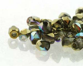 Crystal Gold Rainbow 2mm True Fire Polish Czech Glass Crystal Beads 50 beads
