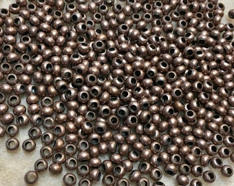 6/0 Antique Copper Plated 100% Brass Round Seed Beads Made in the USA Approx 10 grams