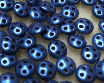Clearance Blue Suede CzechMates QuadraLentil Czech Glass Beads 6mm 60 pcs