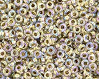 11/0 Gold Lined Rainbow Crystal Demi Round Toho Glass Seed Beads 8 grams TN-11-994
