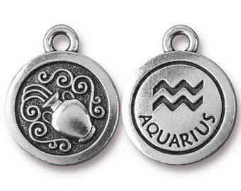 Aquarius Zodiac Antique Silver Charm TierraCast Zodiac Sign Astrology Charm Lead Free Pewter 18.75x15.75mm One Charm