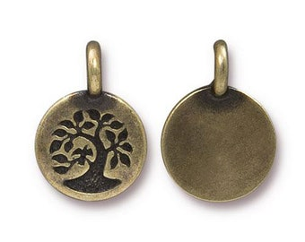 Bird in a Tree Antique Brass Small Lotus Charm TierraCast Lead Free Pewter 17mm x 12mm 1 pc