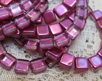 Satin Pink Fandango Czech Mates Two Hole Tile Beads Czech Pressed Glass Square Beads 6mm