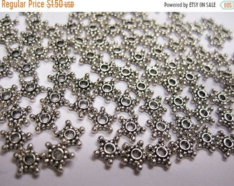 CYBER SALE 50 Star Spacers Antique Silver Heishe Spacers Rondelles 1mm x 7mm F310