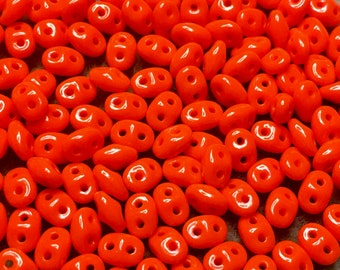 Orange Opaque Czech Pressed Glass Super Duo Two Hole Seed Beads 2.5mm x 5mm 12 grams