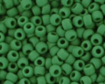 11/0 Opaque Frosted Pine Green Toho Glass Seed Beads 2.5 inch tube 8 grams TR-11-47HF