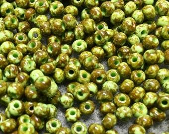 6/0 Opaque Travertine on Light Green Preciosa Czech Glass Picasso Seed Beads approx. 20 grams F326
