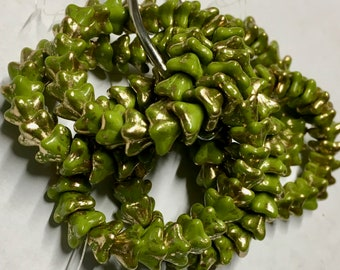 Opaque Avocado Green with Gold Finish Czech Pressed Glass 5 Petal Star Flower Beads 6mm x 9mm 25 beads