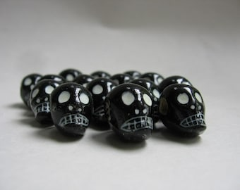 Skull Beads Peruvian Ceramic Clay Black Skull Beads 16mm with Large Horizontal Holes 10 beads