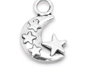 Crescent Half Moon Antique Silver Star Double Sided Carved Charms Pendant 20x12mm 10 pcs C201A