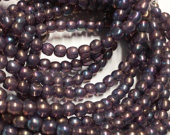 Purple Mother of Pearl Czech Pressed Glass Round Druk Beads 4mm 50 beads